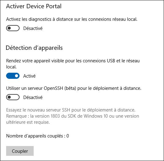 Paramètres Windows 10 - Connexion USB