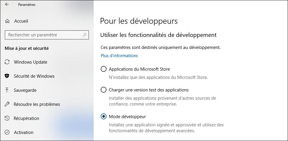 Paramètres Windows 10 - Mode développeur